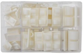 Assorted Adhesive Cable Clips - White (122)